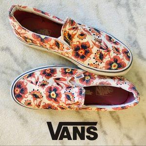 Vans Slip-On Checker Floral Skate Shoes.